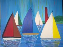 Abstrakte malerei, Segelboot, Sport, Landschaft