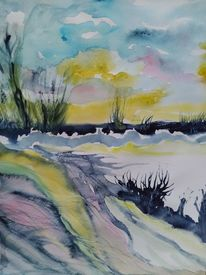 Abstrakt, Landschaft, Blau, Aquarellmalerei