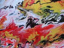 Gelb, Abstrakt, Schwarz, Acrylmalerei