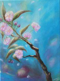 Zweig, Blau, Kirschblüte, Acrylmalerei