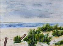 Dünen strand, Aquarellmalerei, Meer, Landschaft