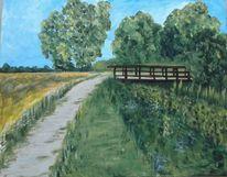 Sommer, Landschaft, Acrylmalerei, Malerei