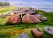 Stein, Landschaft, Aquarellmalerei, Aquarell