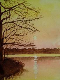 See, Baum, Abend, Aquarell