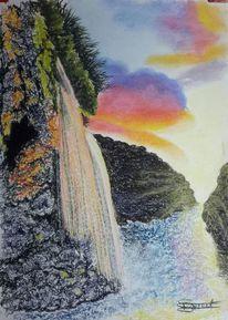 Wasserfall, Felsen, Dämmerung, Malerei