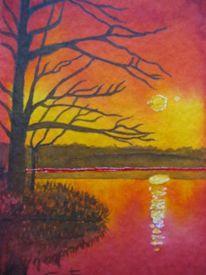 Rot, See, Wasser, Malerei