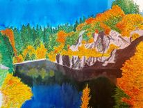 See, Berge, Herbst, Aquarell