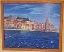 Strand, Mittelmeer, Stadt, Malerei