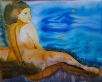 Fantasielandschaft, Frau, Aquarell,