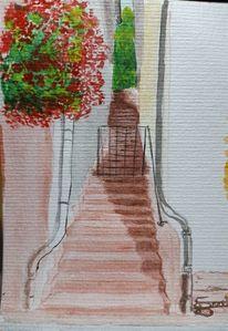Treppe, Altstadt, Roter sandstein, Aquarell