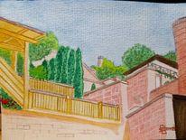 Mauer, Roter sandstein, Stadt, Terrasse