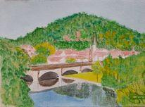 Fluss, Stadt, Berge, Brücke