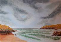 Strand, Welle, Felsen, Wolken