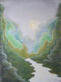 Bergfluss, Schlucht, Tal, Malerei