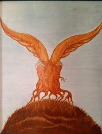 Wurzel, Holz, Flügel, Malerei