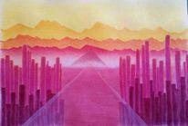 Pyramide, Nebel, Berge, Zeichnungen