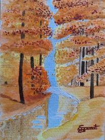 Herbst, Wald, Spiegelung, Aquarell