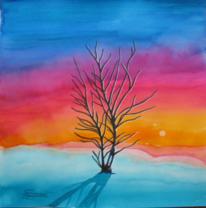 Baum, Winter, Leuchtkraft, Malerei