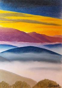 Abendhimmel, Berge, Nebel, Malerei