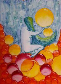 Kugel, Blase, Frau, Wasser