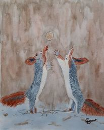 Eichhörnchen, Schnee, Walnuss, Aquarell