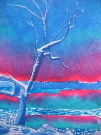 Winter, Blau, Baum, Malerei