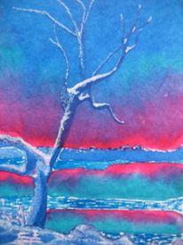 Blau, Baum, Winter, Malerei