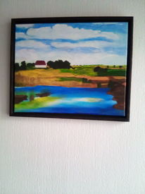 Wasser, Acrylmalerei, Pflanzen, Landschaft