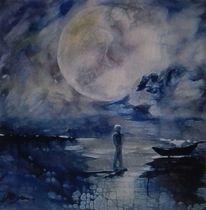 Steg, Mond, Wolken, Boot