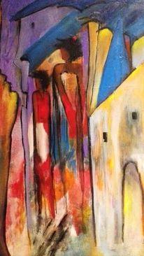 Häuser, Menschen, Mauer, Malerei