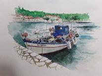 Griechenland, Fischerboot, Meganisi, Aquarellmalerei