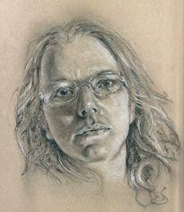 Selbstportrait, Portrait, Kohlezeichnung, Zeichnungen
