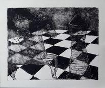 Schach, Monotypie, Zeichnungen