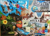 Mischen, Collage, Puzzle, Bunt