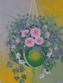 Acrylmalerei, Blumen, Rose, Margerite