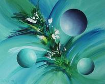 Modern art, Blau, Grün, Malerei