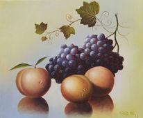 Obst, Weinblätter, Ölmalerei, Pfirsich