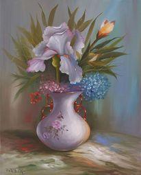 Iris, Sommer, Hortensien, Ölmalerei