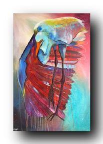 Abstrakt, Rot, Reier, Acrylmalerei