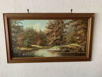 Ölmalerei, Flusslandschaft, Malerei, Landschaft