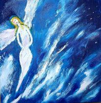Blau, Engel, Acrylmalerei, Malerei
