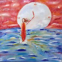 Mond, Frau, Meer, Malerei