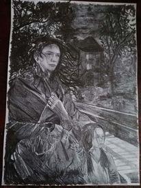 Bleistiftzeichnung, Mädchen, Heimat, Trauer