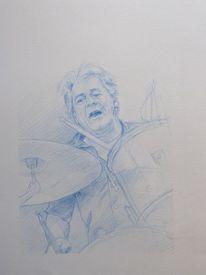 Musiker, Zeichnung, Schlagzeug, Portrait