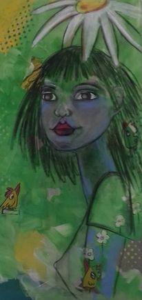 Malerei, Portrait, Figur, Blüte