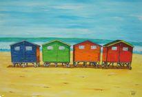 Badehäuschen, Urlaub, Meer, Strand