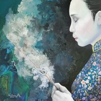 Frau, Ölmalerei, Malerei, Meditation