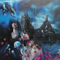Ölmalerei, Märchen, Malerei, Meerjungfrau