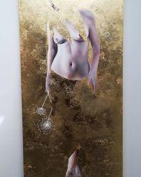 Blattgold, Ölmalerei, Gold, Akt
