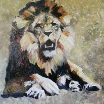 Löwe öl malerei, Krafttier, Malerei, Löwe